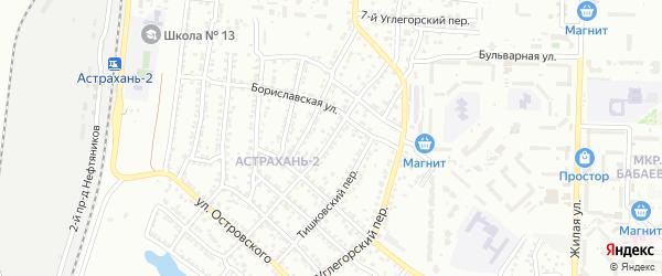 Углегорский переулок на карте Астрахани с номерами домов
