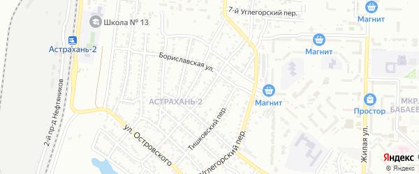 Углегорский 2-й переулок на карте Астрахани с номерами домов