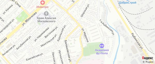 Балашовский 2-й переулок на карте Астрахани с номерами домов