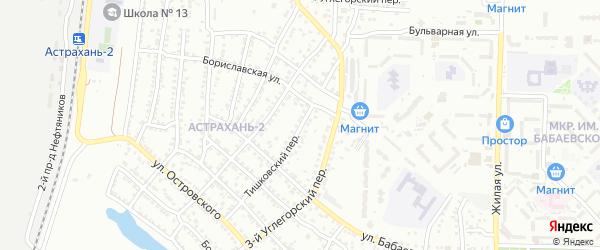 Тишковский переулок на карте Астрахани с номерами домов