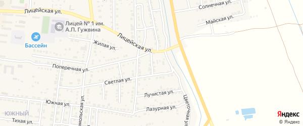Проездной переулок на карте Камызяка с номерами домов