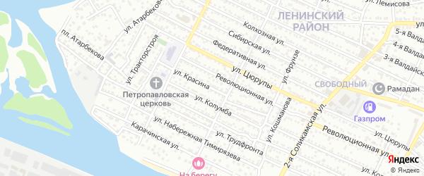 Улица Красина на карте Астрахани с номерами домов