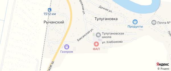 Баксанская улица на карте села Тулугановки с номерами домов