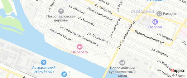 Переулок Тимирязева на карте Астрахани с номерами домов