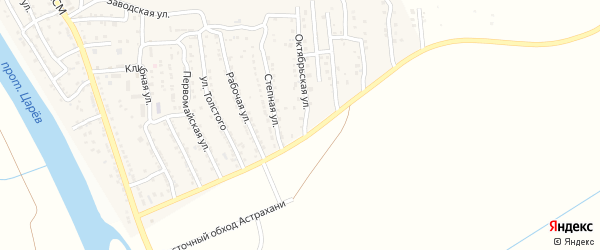 Октябрьская улица на карте поселка Кирпичного Завода N1 с номерами домов