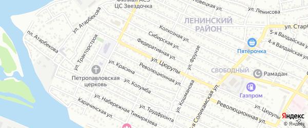 Свободинская улица на карте Астрахани с номерами домов