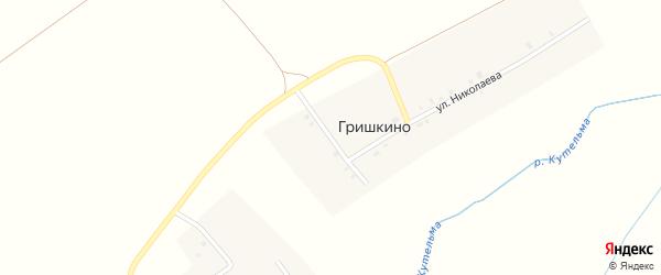 Зеленая улица на карте деревни Гришкино с номерами домов