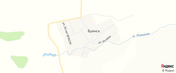 Карта деревни Буинска в Чувашии с улицами и номерами домов