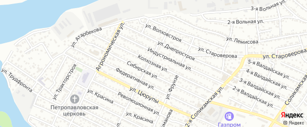 Колхозная улица на карте Астрахани с номерами домов