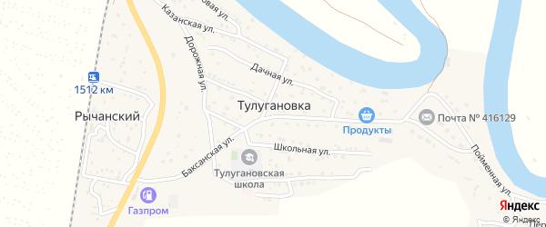 Дорожная улица на карте села Тулугановки с номерами домов