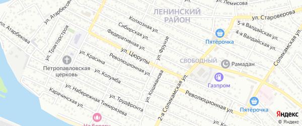 Улица Цюрупы на карте Астрахани с номерами домов