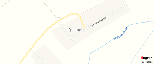 Улица Николаева на карте деревни Гришкино с номерами домов