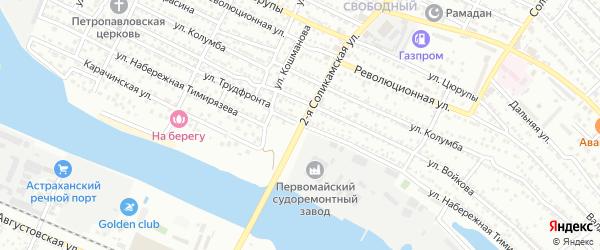 Улица Набережная Тимирязева на карте Астрахани с номерами домов