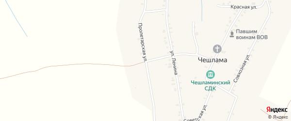 Пролетарская улица на карте деревни Чешламы с номерами домов