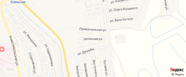 Целинная улица на карте Камызяка с номерами домов