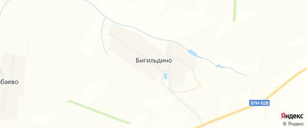 Карта деревни Бигильдино в Чувашии с улицами и номерами домов
