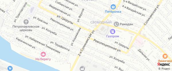 Революционная улица на карте Астрахани с номерами домов