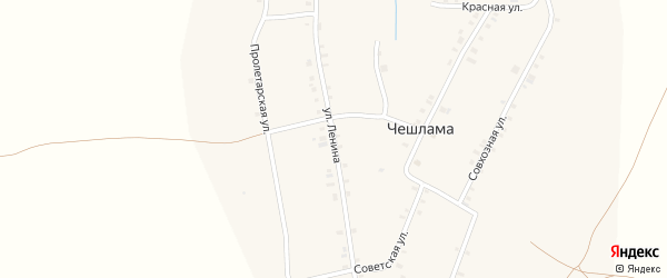 Улица Ленина на карте деревни Чешламы с номерами домов