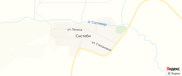 Карта деревни Систеби в Чувашии с улицами и номерами домов
