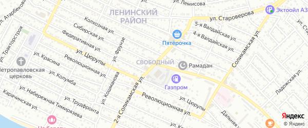 Соликамская 2-я улица на карте Астрахани с номерами домов