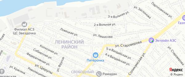Лемисова 3-й переулок на карте Астрахани с номерами домов