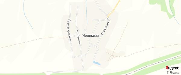 Карта деревни Чешламы в Чувашии с улицами и номерами домов