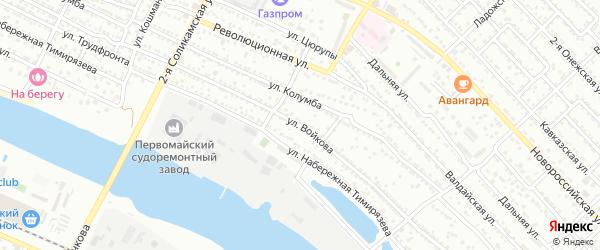 Улица Войкова на карте Астрахани с номерами домов