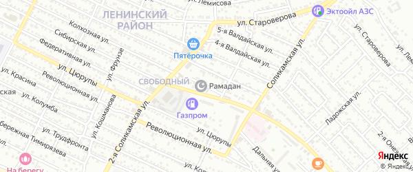 Валдайская 1-я улица на карте Астрахани с номерами домов