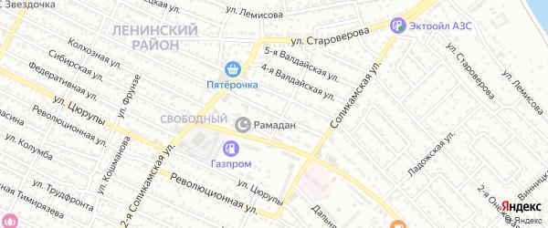 Валдайская 2-я улица на карте Астрахани с номерами домов