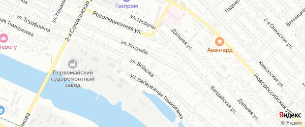 Набережный 2-й переулок на карте Астрахани с номерами домов