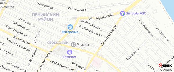Валдайская 3-я улица на карте Астрахани с номерами домов