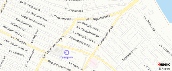 Соликамская 1-я улица на карте Астрахани с номерами домов