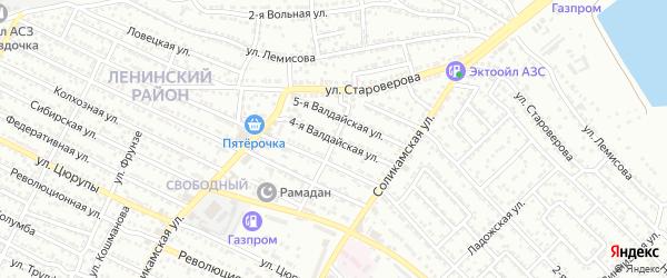 Валдайская 4-я улица на карте Астрахани с номерами домов