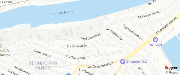 Вольная 3-я улица на карте Астрахани с номерами домов