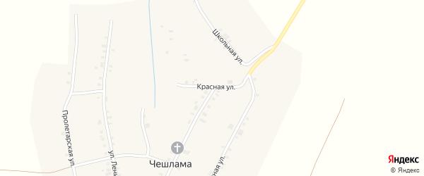 Красная улица на карте деревни Чешламы с номерами домов