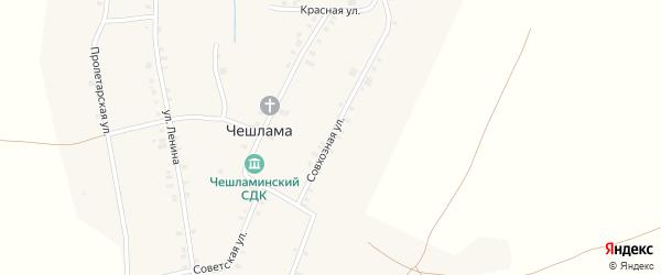 Совхозная улица на карте деревни Чешламы с номерами домов