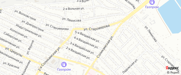 Валдайская 5-я улица на карте Астрахани с номерами домов