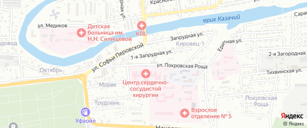 Улица Покровская роща на карте Астрахани с номерами домов