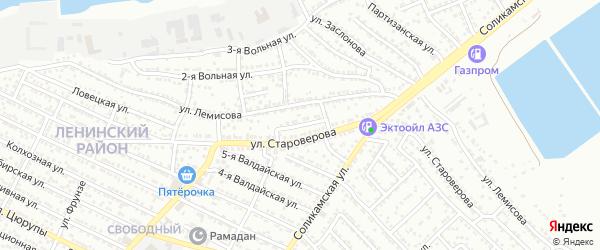 Переулок Староверова на карте Астрахани с номерами домов