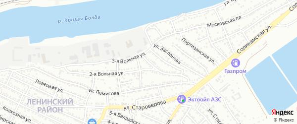 Вольный переулок на карте Астрахани с номерами домов