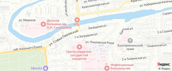 Запрудная 1-я улица на карте Астрахани с номерами домов