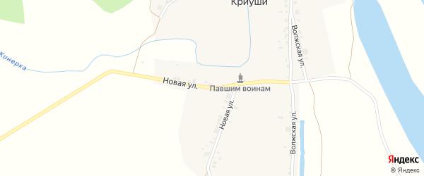 Новая улица на карте деревни Криуш с номерами домов