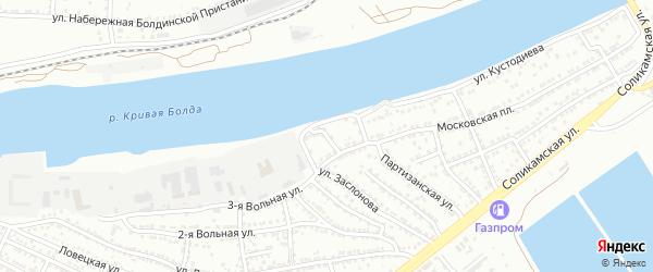 Московский переулок на карте Астрахани с номерами домов