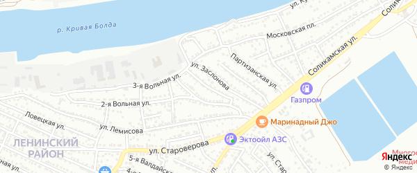 Вольный 2-й переулок на карте Астрахани с номерами домов