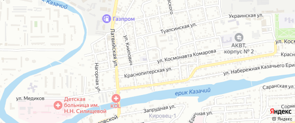 Мелитопольская улица на карте Астрахани с номерами домов