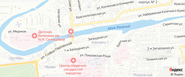Запрудная улица на карте Астрахани с номерами домов