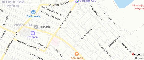 Улица Кавказская 2-й проезд на карте Астрахани с номерами домов