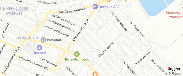 Березовый 1-й проезд на карте Астрахани с номерами домов