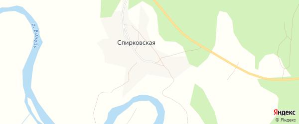 Карта Спирковской деревни в Архангельской области с улицами и номерами домов