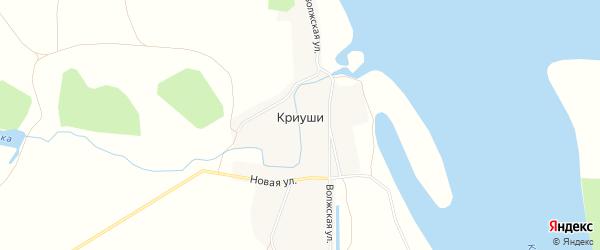 Карта деревни Криуш в Чувашии с улицами и номерами домов